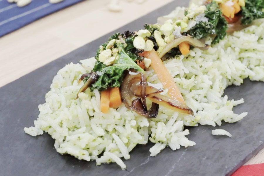 arroz basmati con pesto