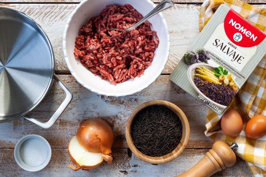 Receta de albóndigas de arroz salvaje todos los ingredientes