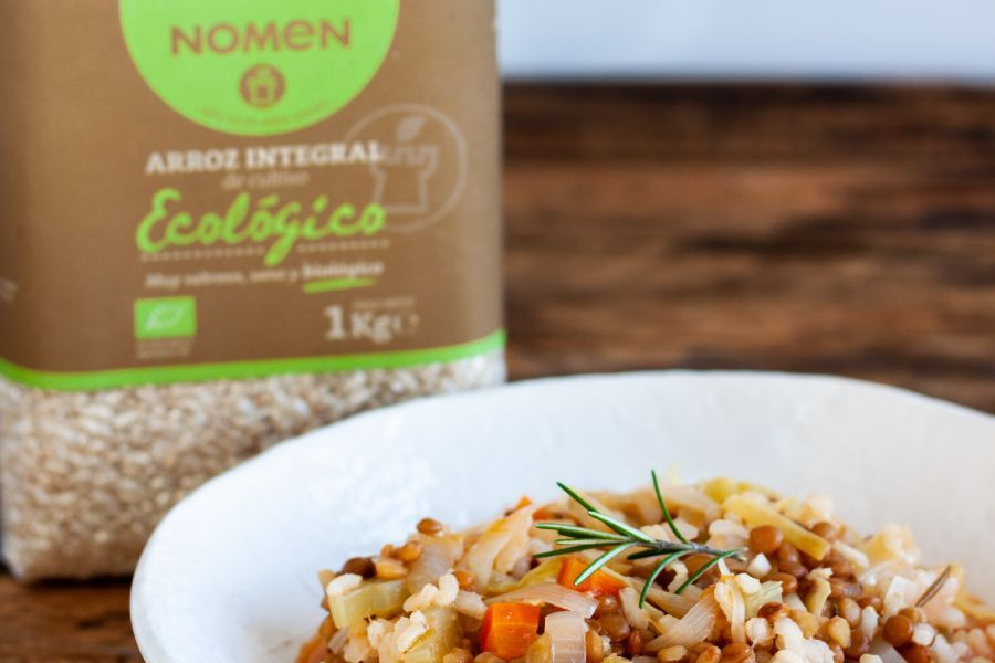 Lentejas con arroz integral ecológico