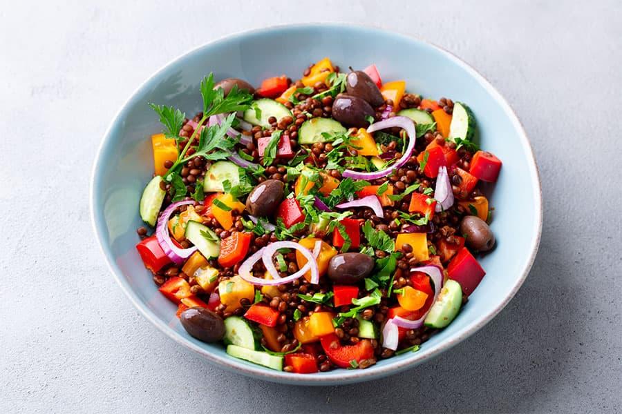 Ensalada de lentejas con hortalizas