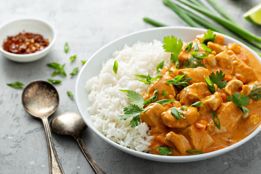 Arròs basmati amb pollastre al curry